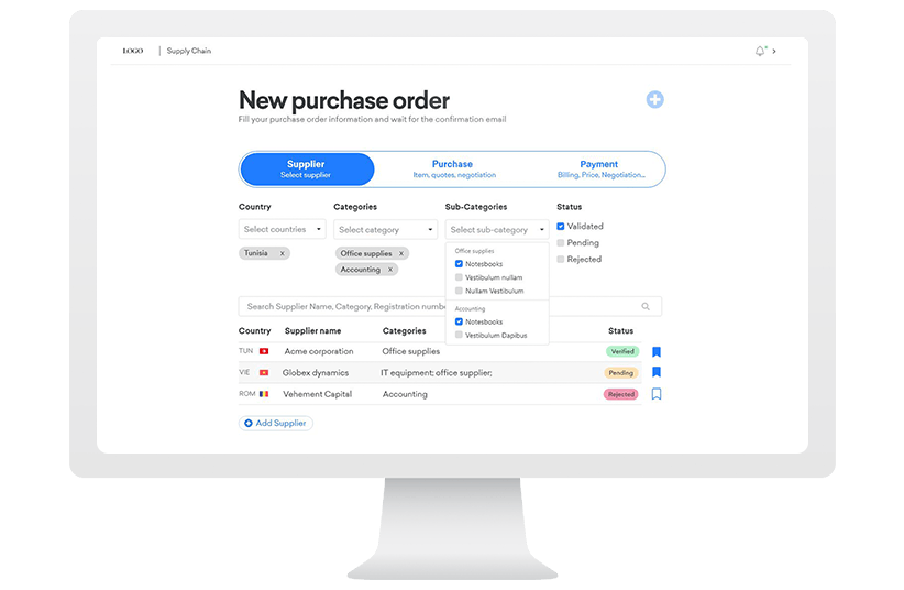 purchasing system supply chain solution form wizard UI design